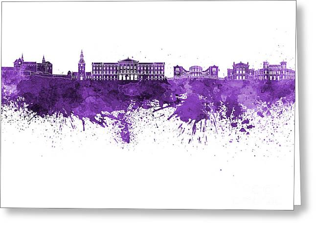 Oslo Skyline In Watercolor Background Greeting Card