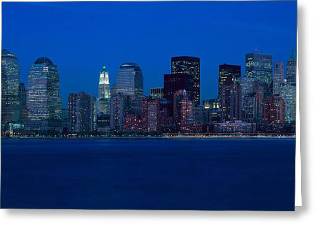 Panoramic View Of Lower Manhattan Greeting Card by Panoramic Images