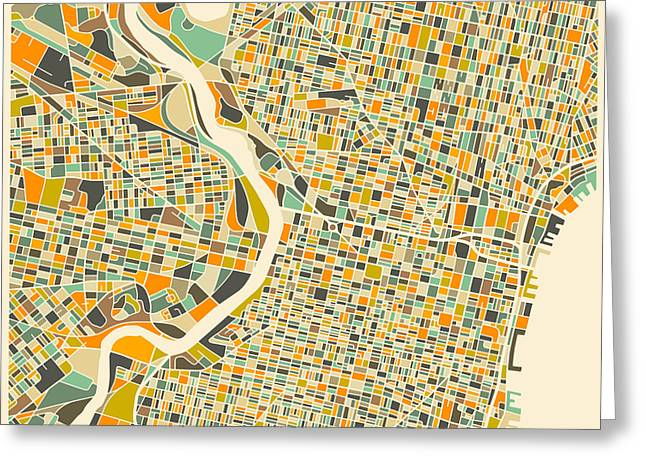 Philadelphia Map Greeting Card by Jazzberry Blue