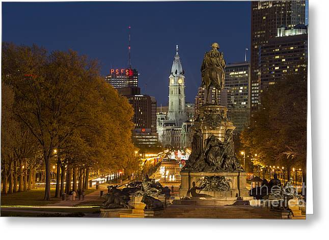 Downtown Franklin Greeting Cards - Philadelphia Skyline Greeting Card by John Greim