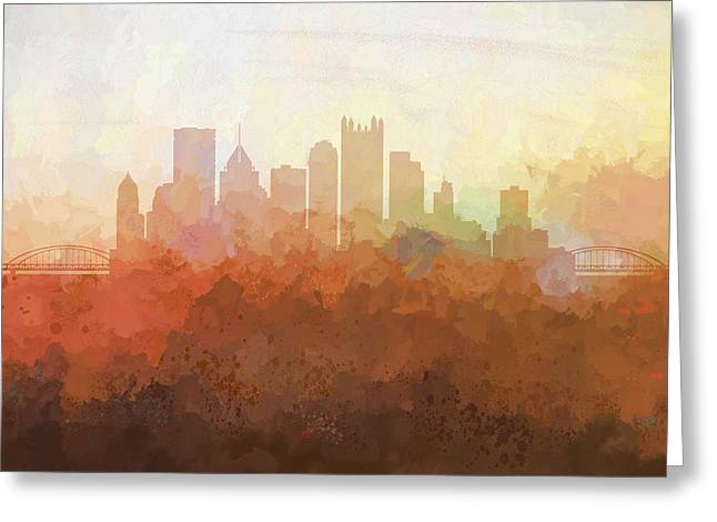 Greeting Card featuring the digital art Pittsburgh Pennsylvania Skyline by Marlene Watson