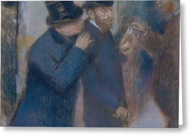 Portraits At The Stock Exchange Greeting Card by Edgar Degas