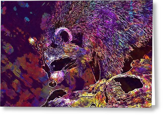 Greeting Card featuring the digital art Raccoon Wild Animal Furry Mammal  by PixBreak Art
