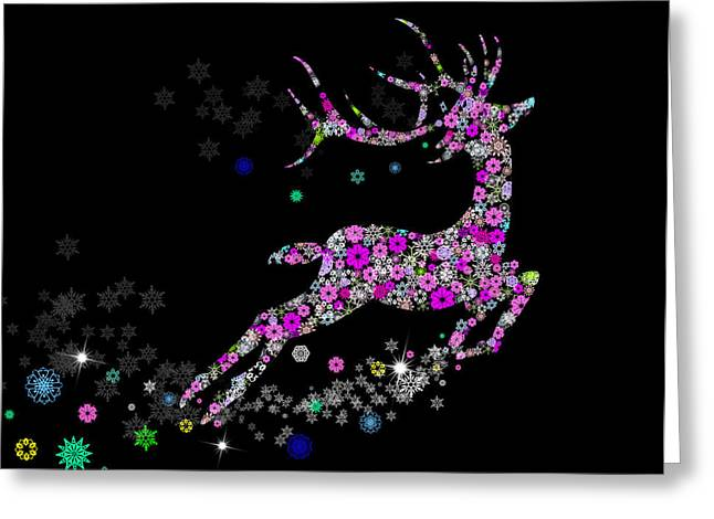 Holiday Digital Art Greeting Cards - Reindeer design by snowflakes Greeting Card by Setsiri Silapasuwanchai