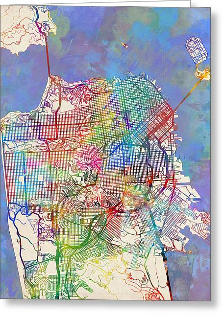 San Francisco City Street Map Greeting Card by Michael Tompsett
