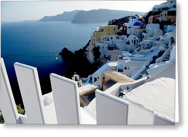 Santorini Greeting Card by Leena Kewlani