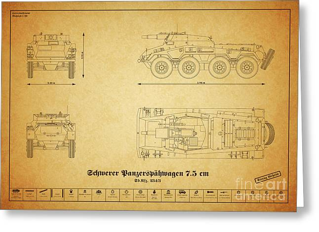 Sd. Kfz. 234-3. Heavy Armored Reconnaissance Cars - 75mm Greeting Card by Marcel Thomas