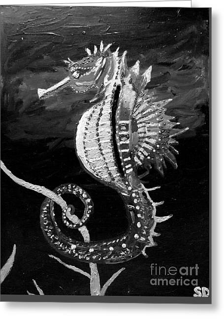 Sea Horse Oil Painting  Greeting Card by Scott D Van Osdol