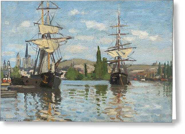 Ships Riding On The Seine At Rouen  Greeting Card by Mountain Dreams
