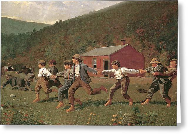 Snap The Whip Greeting Card by Winslow Homer