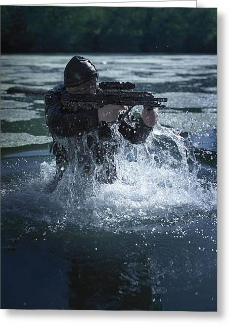 Vigilant Greeting Cards - Special Operations Forces Soldier Greeting Card by Tom Weber