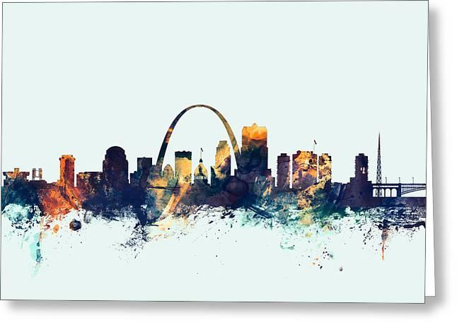 St Louis Missouri Skyline Greeting Card by Michael Tompsett