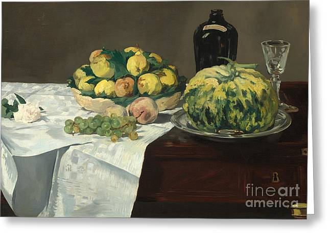 Still Life With Melon And Peaches Greeting Card by Edouard Manet