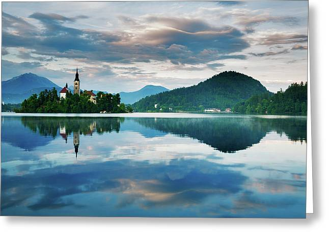Sunset Over Lake Bled Greeting Card