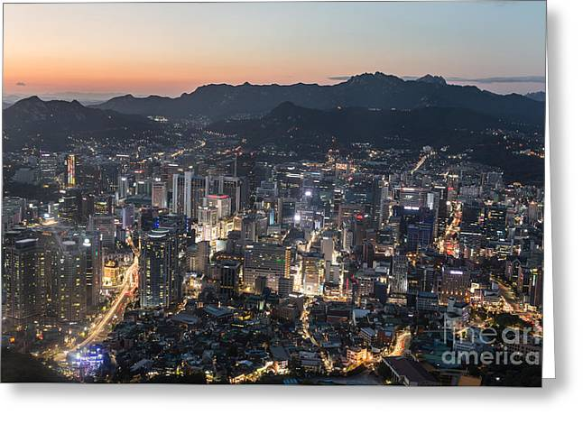 Sunset Over Seoul Greeting Card