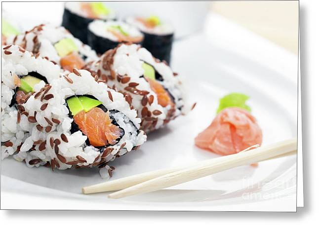 Sushi With Salmon, Avocado, Rice In Seaweed Served With Wasabi And Ginger Greeting Card by Michal Bednarek