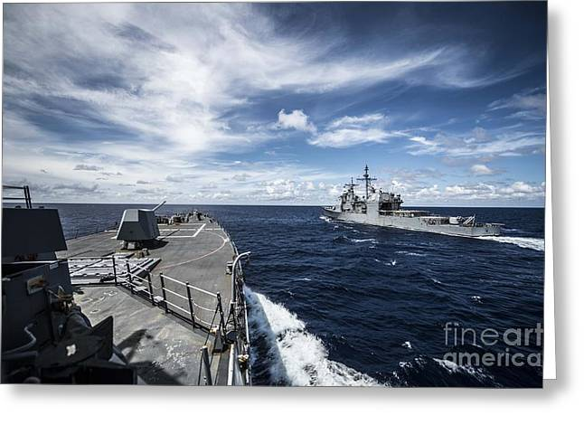 The Arleigh Burke-class Guided-missile Destroyer  Greeting Card by Celestial Images