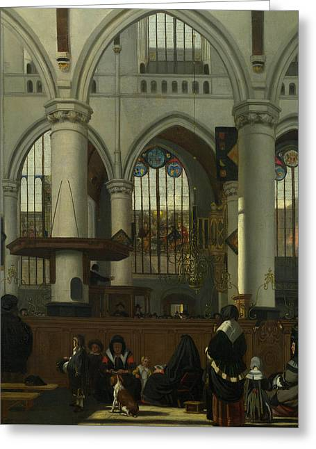 The Interior Of The Oude Kerk, Amsterdam Greeting Card