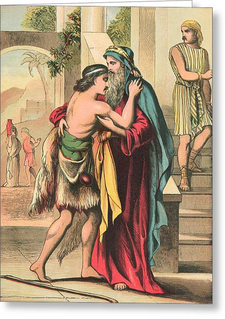 The Return Of The Prodigal Son Greeting Card by English School