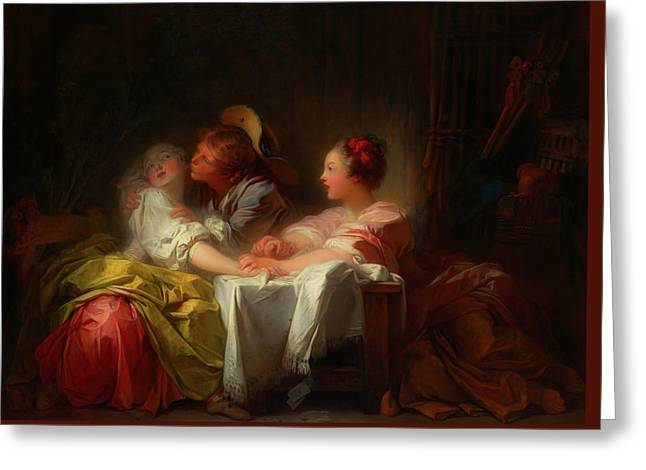 Greeting Card featuring the painting The Stolen Kiss by Jean-Honore Fragonard