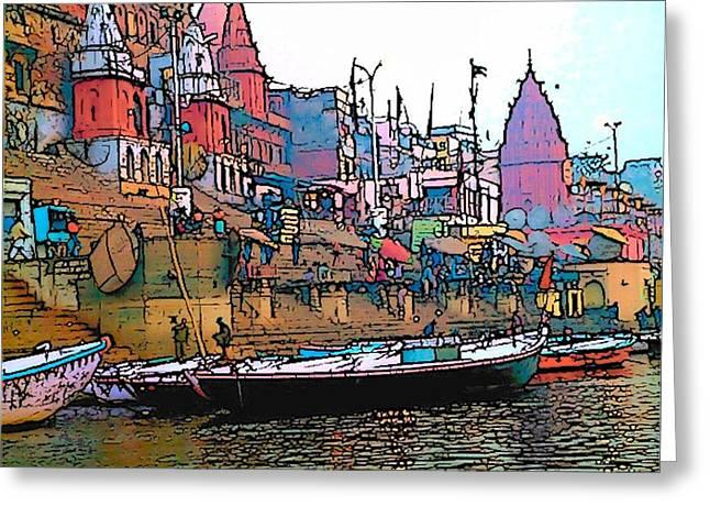 Varanasi Greeting Card by Lisa Dunn
