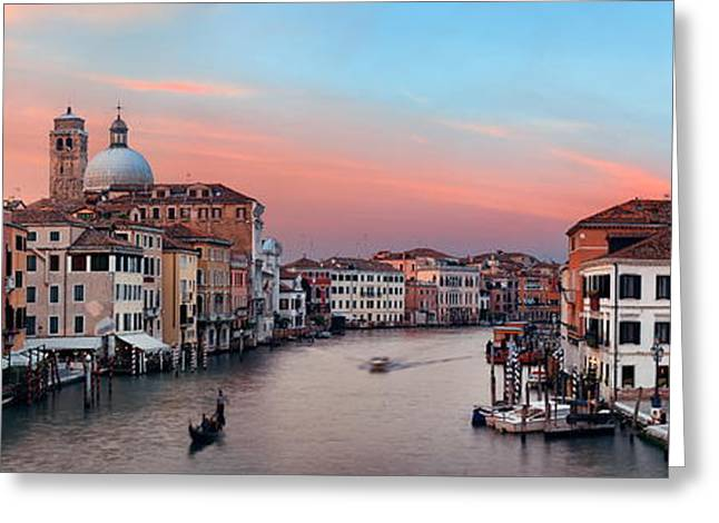 Greeting Card featuring the photograph Venice Grand Canal Sunset by Songquan Deng