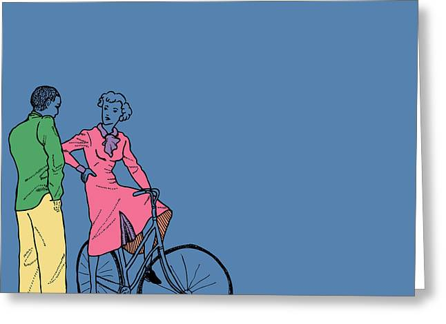 Vintage Bike Couple Greeting Card by Karl Addison