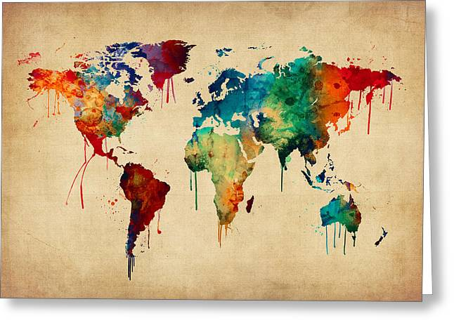 Watercolor Map Of The World Map Greeting Card