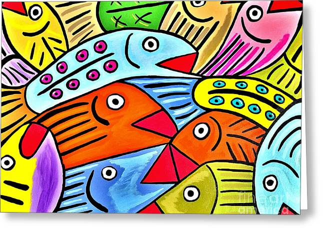 Whimsical Colorful Fish Greeting Card by Scott D Van Osdol