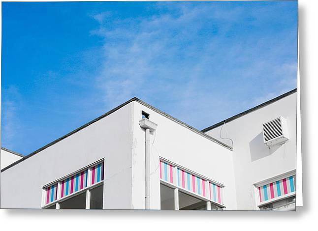 White Building Greeting Card by Tom Gowanlock