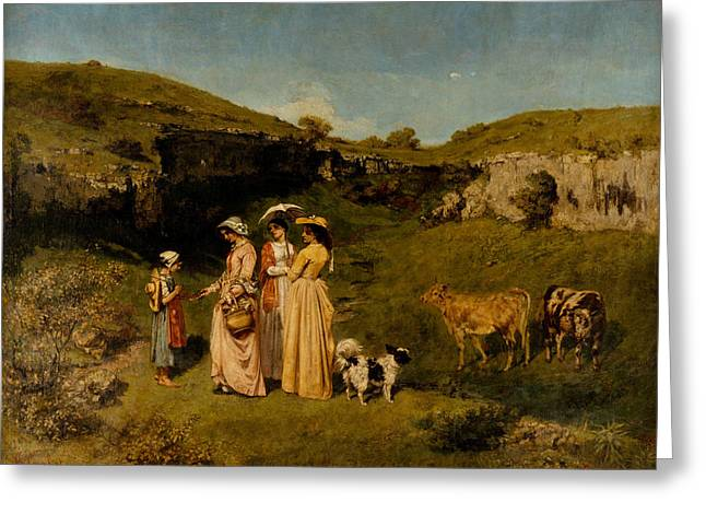 Young Ladies Of The Village Greeting Card