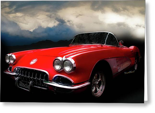 60 Corvette Roadster In Red Greeting Card