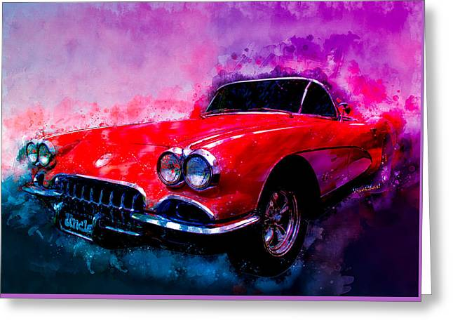 60 Red Corvette Watercolour Illustration Greeting Card