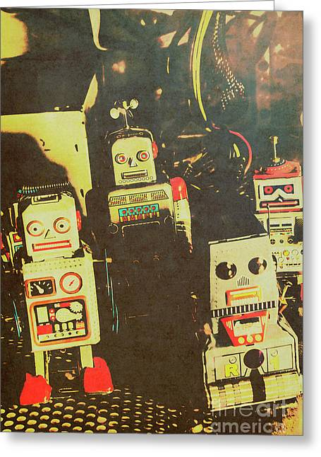 60s Cartoon Character Robots Greeting Card by Jorgo Photography - Wall Art Gallery