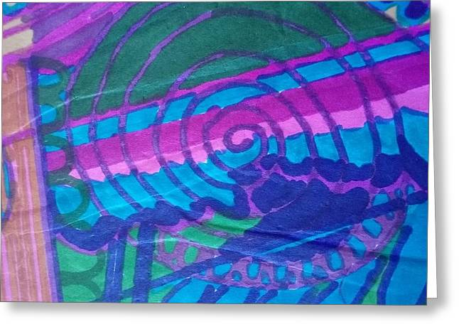 60's Spiral Center Greeting Card by Modern Metro Patterns and Textiles