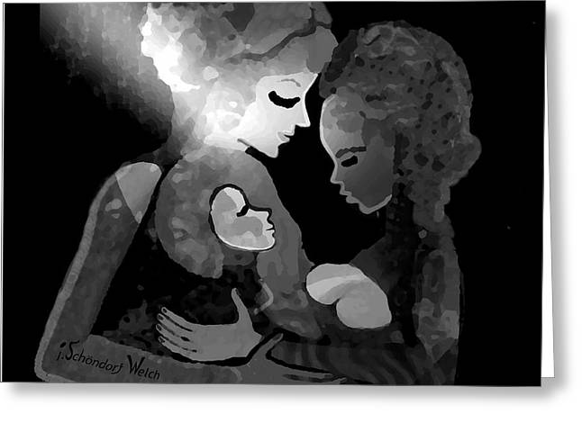 Greeting Card featuring the digital art 826 - The Child by Irmgard Schoendorf Welch