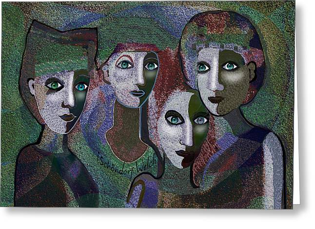 Greeting Card featuring the digital art 649 - Gauntly Ladies by Irmgard Schoendorf Welch