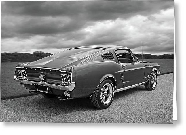 67 Fastback Mustang In Black And White Greeting Card