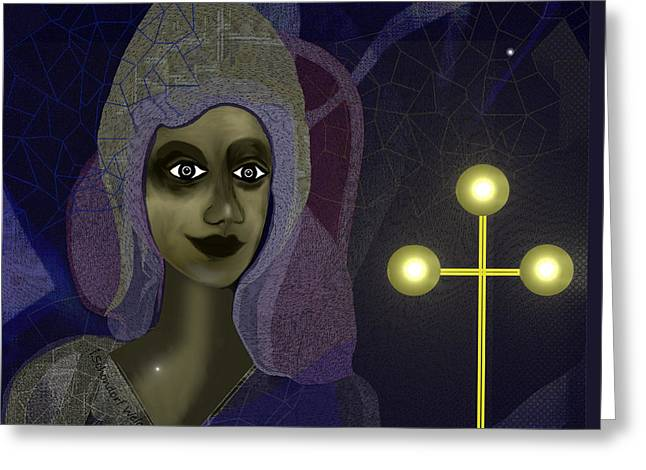 Greeting Card featuring the digital art 673 - Young Lady With Cross by Irmgard Schoendorf Welch