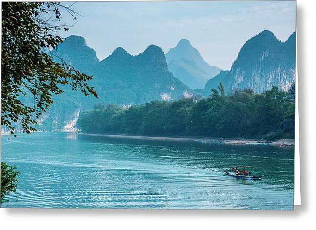 Greeting Card featuring the photograph Lijiang River And Karst Mountains Scenery by Carl Ning