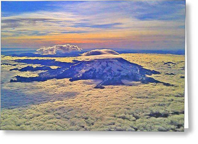 Greeting Card featuring the photograph #69 Mt Rainier Sunrise by Jack Moskovita
