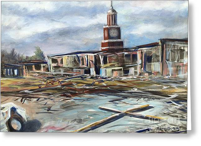 Greeting Card featuring the painting Union University Jackson Tennessee 7 02 P M by Randol Burns