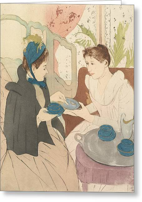 Afternoon Tea Party Greeting Card by Mary Cassatt