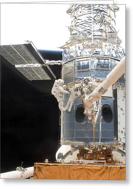 Hubble Space Telescope Views Greeting Cards - Astronauts Working On The Hubble Space Greeting Card by Stocktrek Images