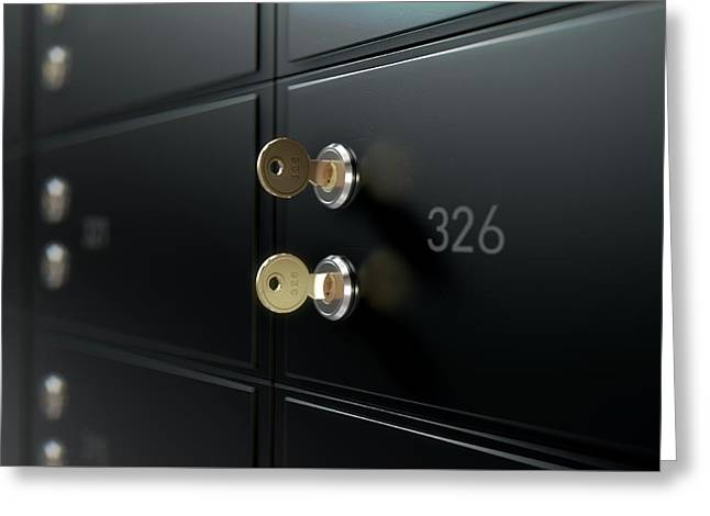 Black Safe Deposit Box Wall Greeting Card by Allan Swart