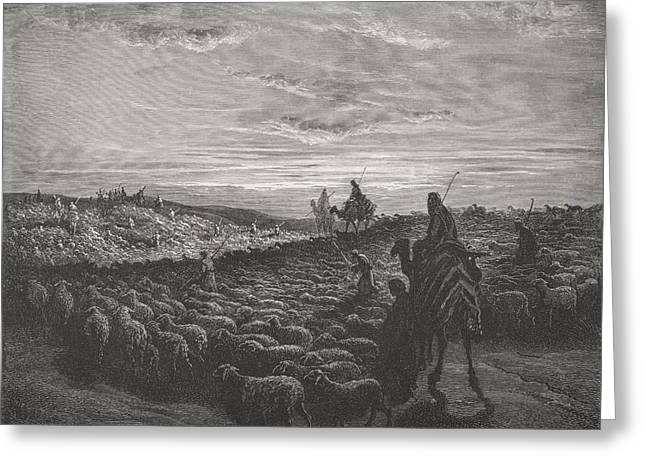 Engraving From The Dore Bible Greeting Card