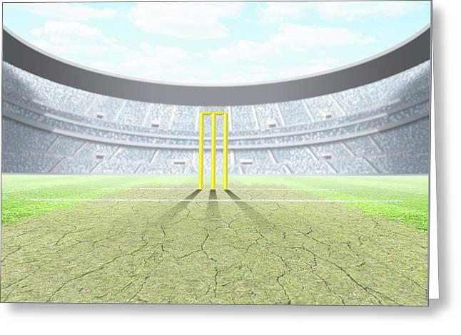 Floodlit Stadium Day Greeting Card by Allan Swart