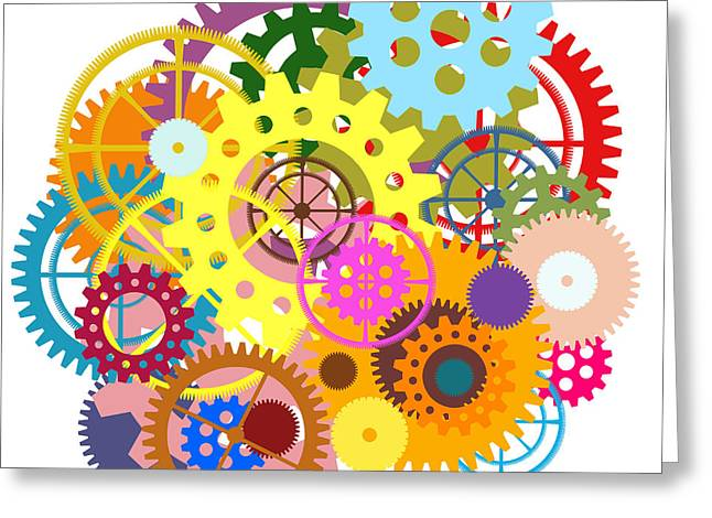 Rotation Greeting Cards - Gears Wheels Design  Greeting Card by Setsiri Silapasuwanchai