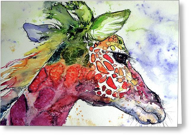 Giraffe  Greeting Card by Kovacs Anna Brigitta