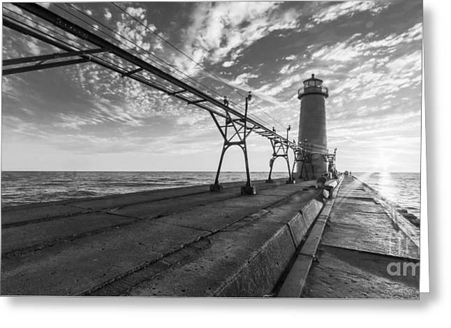 Grand Haven Pier And Lighthouse Greeting Card